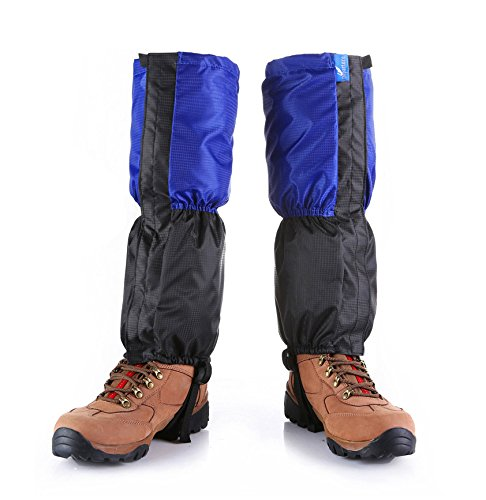Kungken Unisexe extérieur étanche Guêtres de coupe-vent protection de jambe anti-neige Guard pour le ski de randonnée d'escalade de chasse, Homme femme Enfant, bleu
