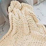ZUIBESCHOS Chunky Knit Blanket Soft Warm Chunky Knit Blanket Throw Cozy Cable Knit Throw for Sofa, Bed, Baby Blanket, Festival Gift, Home Decor, Milk White 40'x47'