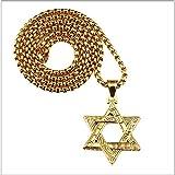 VAWAA Punk Oro Hip Hop para Hombres Vintage Misterioso Acero Inoxidable Estrella judía de David Colgantes Cubano Cadena Judaica Israel Collar