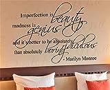 stickers muraux citations musique Imperfection is Beauty La folie est un génie pour la chambre des filles