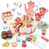 BeebeeRun 82 Pezzi Torta Giocattolo, Giocattolo Torta Decorata, Finti Alimenti, Torta di Compleanno con Musica e Candele Luminose, Regalo di Compleanno per Bambini dai 3 Anni+