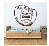 Adhesivo de pared creativo con diseño de guante de béisbol con bola de bola, pegatina de nombre, decoración para...
