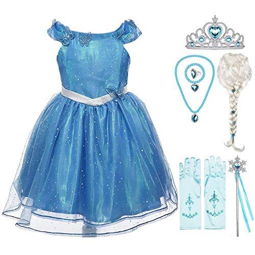 Fanessy Disfraz de princesa Cenicienta para nias Vestido de lujo de Cenicienta azul con tiara y varita mgica para fiesta de carnaval Halloween Navidad