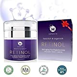 Retinol Feuchtigkeitscreme Creme, Anti-Aging & Anti Falten Creme von HOPEMATE für Gesicht & Augen, für Tag & Nacht, mit 2,5% Retinol + Hyaluronsäure + Vitamin E + Grüner Tee + Jojobaöl, 50ml