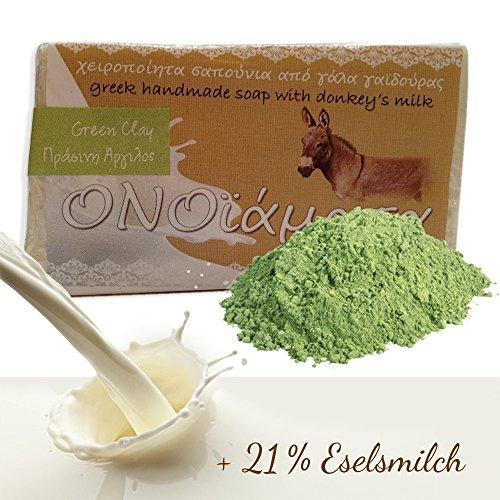 Eselsmilchseife mit 21% Eselsmilch Olivenöl grüne Tonerde - handgemachte natürliche Seife bei fettige unreine Haut, strafft und entgiftet - Seifenstück 1er Pack (1 x 100 g)