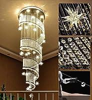 クリスタルシャンデリアシーリングライト、モダンK9クリスタルスパイラルドロップレットシャンデリアクロームフラッシュマウントペンダントLEDランプ、廊下、階段、40cm * 1.2m