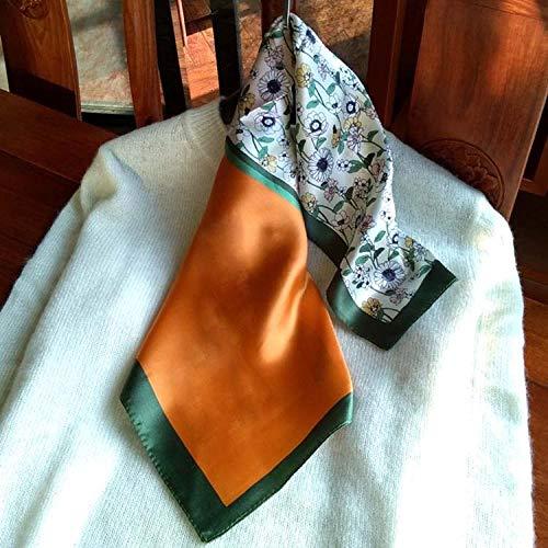 ZAMi Kleine Seide Schal Frauen Frühling und Herbst Pflanze drucken quadratischen Schal Klassische Dekoration Stewardess Hals Schal-Smaragdgrün