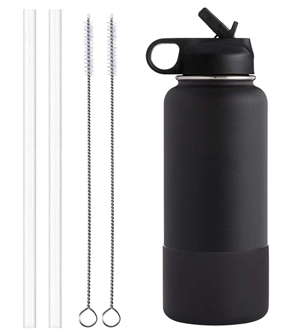 Sportula Water Bottle Vacuum Insulated Stainless Steel, Wide Mouth with Straw Lid, 2 Straws, 2 Brushes and 1 Boot
