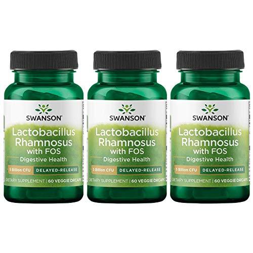 Swanson Lactobacillus Rhamnosus - Cápsulas para vegetales Fos 5 mil millones Cfu 60