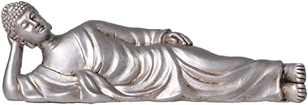 Fenteer Side Lying Buddha Statue - Resin Buddha Feng Shui Figurines Wealth and Good Luck for Home & Office Décor - Silver