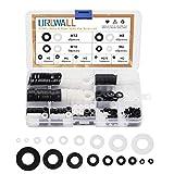 870PCS White&Black Nylon Flat Washer Assortment Kit Ring Rubber Washers Sealing Washers, M2, M2.5, M3, M4, M5, M6, M8, M10, M12 Nylon Spacer Round Insulation Flat Washer Gasket