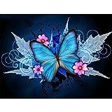 Kit de pintura de diamantes cuadrados 5D con número de flores y mariposas, bordado cristal para manualidades,square diamond punto de cruz diamante kit completo decoración de pared del hogar,30 x 40 cm