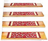 "Stair Treads Carpet Non-Slip – Stair Runners for Wooden Steps Non Slip – Rubber Back Stair Rugs – Pet Dog Carpet for Stairs - Stairway Carpet Rug – Set of 7 Red Floral (8.5"" x 26"")"