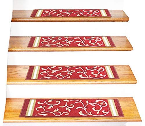 "Gloria Rug Skid-Resistant Rubber Backing Gripper Non-Slip Carpet Stair Treads - Washable Stair Mat Area Rug (SET OF 7), 8.5"" x 26"", Red Floral Design"