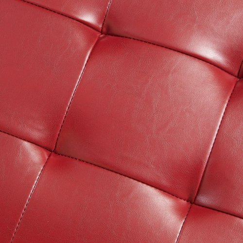 Best Selling Guernsey Leather Storage Ottoman, Red
