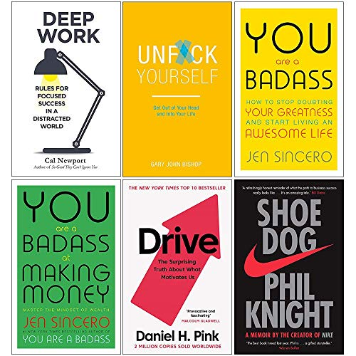 Deep Work, Unfck Yourself, You Are a Badass, You Are a Badass at Making Money, Drive, Shoe Dog 6 Books Collection Set