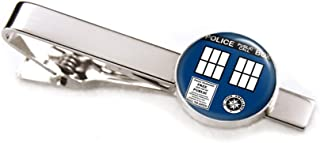 SharedImagination Doctor Who Cufflinks, Tardis Tie Clip Tack, Dr Who Tardis Cuff Links, Time Lord Jewelry, Gallifrey Doctor Who Wedding Party