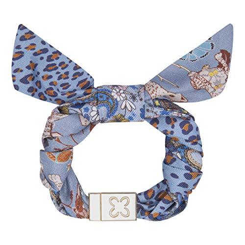 Codello Lifestyle Accessories Unisex Codello Damen | Safari Leoprint Blau 100 % Seide Armband, Blau, 12MM 2X16CM EU