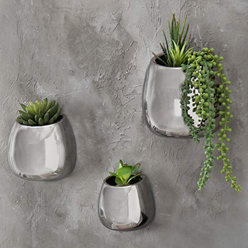 MyGift Contemporary Wall-Hanging Metallic Silver Ceramic Plant Vase Mounted Planters, Set of 3