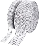 Suhome 1 Roll 4 Row 10 Yard and 1 Roll 8 Row 10 Yard Acrylic Rhinestone Diamond Ribbon for Wedding Cakes, Birthday Decorations, Baby Shower Events, Arts and Crafts Projects (2 Rolls, Silver)