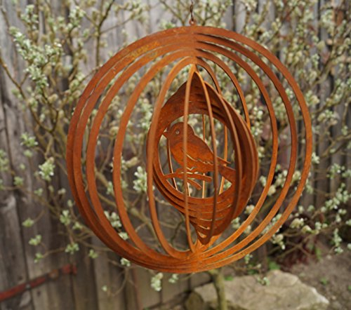DW Edelrost Windspiel Spatz Fensterdekoration Gartendekoration Terrasse Spiralen