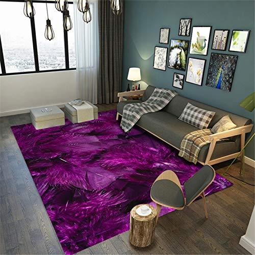 SONGHJ 3D Teppich Mit Feder Druck, rutschfeste Bodenmatte Für Schlafzimmer, Moderne Minimalistische Bettdecke Und Erker