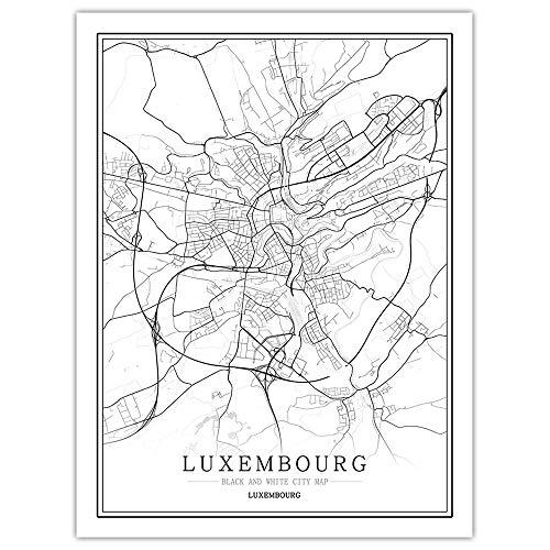 Leinwand Bilder,Luxemburger Stadtplan Schwarz-Weiß-Poster Im Nordischen Stil Minimalistisches Poster Fotowand Wandbilder, Inneneinrichtung Für Wohn- Und Schlafzimmer, 40 Cm X 50 Cm / 15,7 * 19,6 Zo