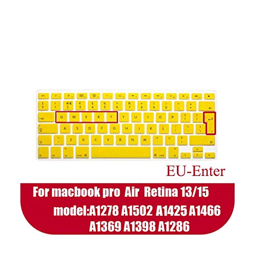 Laptop keyboard cover for macbook air 13 pro 15 inch A1466 A1502 A1278 A1398 EU Silicon Keyboard Cover Color protective film-Yellow