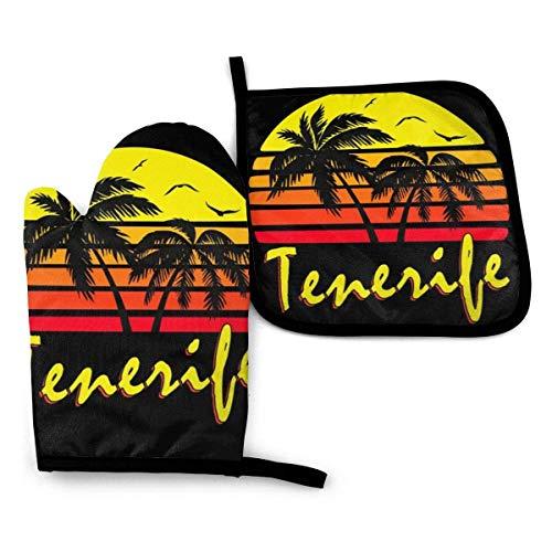 Tenerife Vintage Sun - Mitones y porta ollas Guantes de cocina resistentes al calor Guantes de cocina