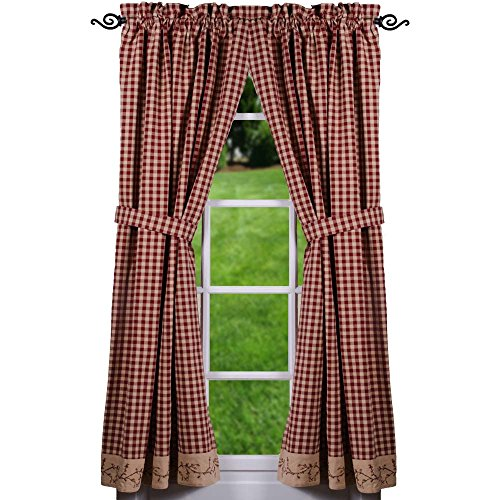 """Primitive Home Decors Berry Vine Check Barn Red and Nutmeg 72"""" x 63"""" Lined Cotton Curtain Panels"""