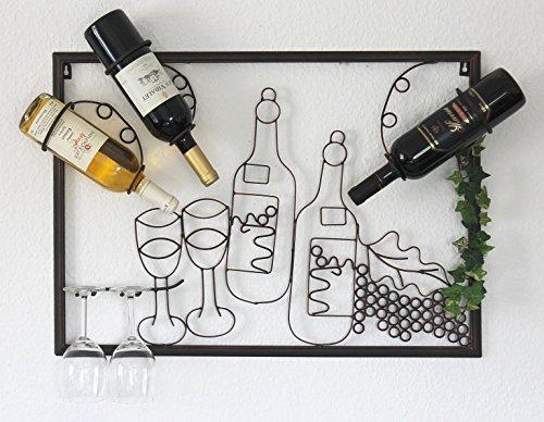 DanDiBo Weinregal mit Glashalter Wand Wandbild 091975 Flaschenständer Metall 70 cm Flaschenhalter Wandregal