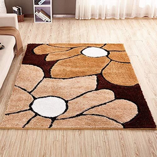 LAMEDER Home Alfombra De Diseño,Patrón de Flor marrón Camel Alfombra Suave y esponjosa Dormitorio hogar Sala de Estar sofá Manta Lateral, 120 × 170 cm
