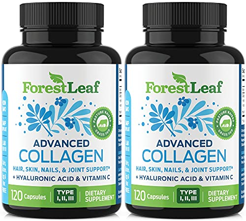 Advanced Collagen Supplement, Type 1, 2 and 3 with Hyaluronic Acid and Vitamin C - Anti Aging Joint Formula - Boosts Hair, Nails and Skin Health - 240 Capsules - by ForestLeaf