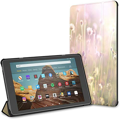 Estuche para Tableta Spring Energetic Flowers Glass Fire HD 10 (9.a / 7.a generación, versión 2019/2017) Estuche Kindle Fire 10 HD 10 Estuche para Kindle Fire Auto Wake/Sleep para Tableta de 10.1 p