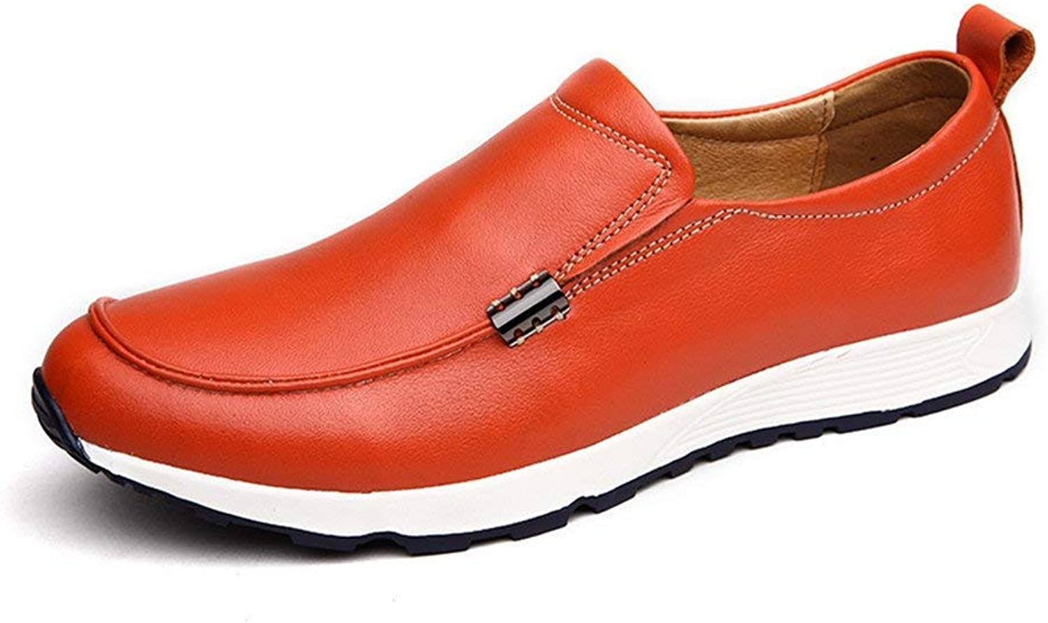 FuweiEncore Men's Moccasins shoes, Men Driving Penny Loafers Bare Vamp Slip-on Casual Boot Moccasins Soft Rubber Sole Leather Lined shoes (color  Brown, Size  41 EU) (color   orange, Size   40 EU)