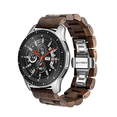Holz Uhrenarmband 22 mm für Samsung Galaxy, 46 mm Holz Edelstahl Uhrenarmband Quick Release Strap Ersatzarmband für Gear S3, 22MM, Walnuss 22 mm