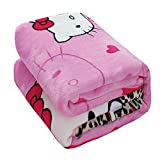 HOLY HOME Kids' Flannel Blanket Throw, Fashionable Leopard Print & Hello Kitty Cat, Flannel Flat Sheet & Sleeping Blanket, 80'x90'