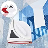Magnetic Window Cleaner, CHARMINER Window Cleaning Tool, Magnetic Window Cleaner Double Sided, Window Double Sided Cleaner with 2 Long Anti-Falling Rope for High Windows Thickness 10-18mm (Red)