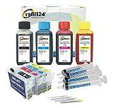 Cartuchos Recargables para T34XL (T3461/71, T3462/72, T3463/73, T3464/74) Negro y Color. Incluye Accesorios + 400 ML de Tinta