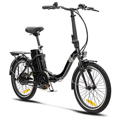 VecoCraft Nemesis Elektro Klapprad,E Bike 20 Zoll,E-Folding Bike mit ausziehbarer Baterrie 36V 13Ah, 250W Motor, tragbares E-Bike Klapprad ebike Herren e Bike Damen mit niedrigem Rahmen (schwarz)