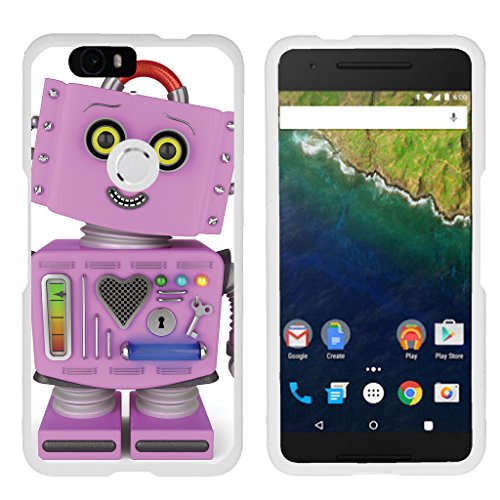 TurtleArmor | Compatible with Huawei Nexus 6P Case | Google Nexus 6P Case [Slim Duo] Hard Shell Snap On Case Fitted Compact Matte on White Robot Android - Purple Robot