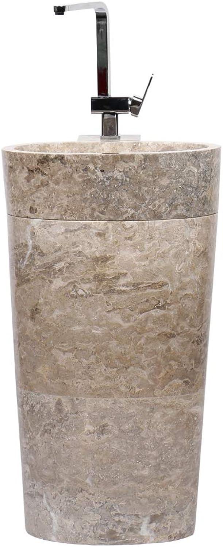 Wohnfreuden Marmor Stand-Waschbecken Pedestal 50x35x90 cm     Naturstein Waschbecken     Waschschale     Waschtischsule