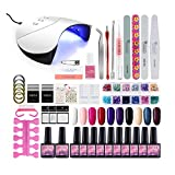 36W UV/LED Lámpara Secador de Uñas 10/12PCS Esmalte Semipermanente Kit Uñas de Gel Primer Uñas Top Coat DIY Uña Arte Kit para Manicura Pedicura (36W Nail Set C01)