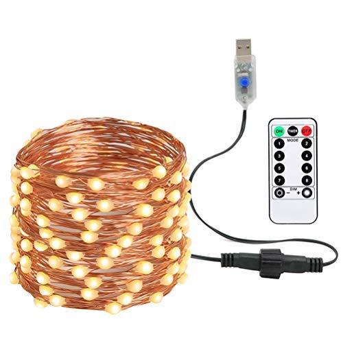Sarple LED Luces de Hadas Solar y USB Control Remoto Cadena de Luces Luces de Hadas de Alambre Luces Decorativas de Noche para Navidad Decoración de Bodas Decoración de Fiestas