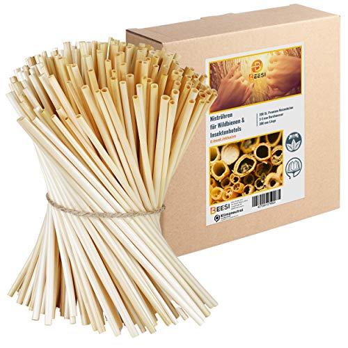 BEESI 200 Nisthülsen 20 cm lang für Wildbienen Durchmesser 3-5 mm inkl E-Book I Niströhren für Insektenhotel I Nisthilfe für Wildbienen (200x Halme)