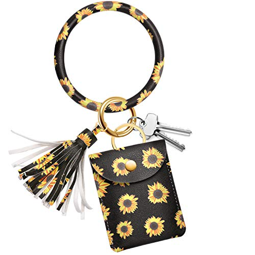 Adorve Wristlet Bracelet Keychain Card Holder Key Ring Chain Bangle Sunflower