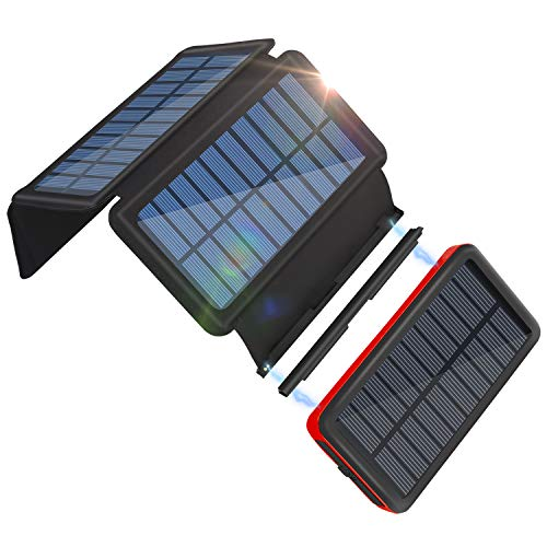 Solar Charger 26800mAh Portable Solar Power Bank with 4 Solar Panels for Outdoor, 2 Inputs 2 Outputs USB Compatible with Most Smartphones, Tablets, Water-Resistant Charger Pack with LED Flashlight