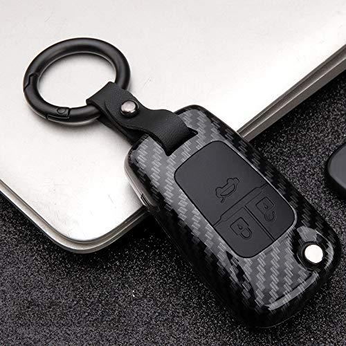 ontto 3 Taste Klapp Autoschlüssel Hülle Abdeckung für Opel Astra J Corsa Mokka Meriva Insignia Chevrolet ABS Silikon Schlüsselhülle Schlüsselanhänger Schlüsselbox Schlüsselschutz-Kohlefaser Schwarz