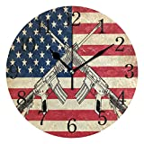 TFONE America Flag with Guns Wall Clock Round Silent Non Ticking Battery Operated Clock for Home Kitchen Bedroom Bathroom Living Room Office Decorative