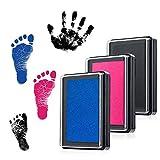 Fußabdruck Baby und Handabdruck Baby Fuß- oder Hand-Abdruckset Set Baby Stempelkissen Sichere wiederverwendbare,leicht abzuwaschen (Schwarz,Blau, Rosa)